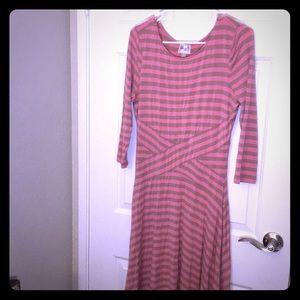 Beige by eci - Womens striped dress-pink & Brown